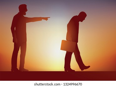 Concept of unfair dismissal and the law of competition, with an authoritarian boss who exercises his power by dismissing one of his employees for incompetence by pointing the finger.