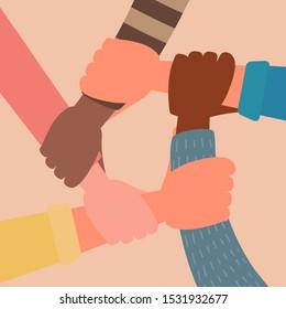 concept of unity, human hand unite, teamwork friends holding together, cultural diversity. flat vector cartoon illustration