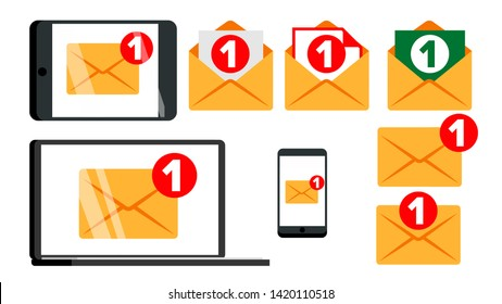 Concept Unread Email Message Notify Set Vector. New Digital Notify Letter Mail On Electronic Device Screen Smartphone, Tablet Computer Display And Laptop Monitor. Flat Cartoon Illustration