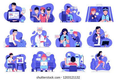 Concept user experience illustrations for web and applications with modern IT people using technology devices and gadgets. Internet marketing and advertising spot illustration set in flat design.