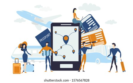 Concept of vacation planning with Flat people travelers , travel by various means of transport, train, plane, bus, on-line booking of tickets, trip, tourism set, travel, tour, vector illustration