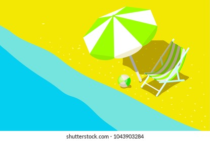 Concept of Vacation. Sunbed with sunshade by the sea. Flat style vector illustration