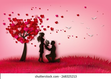 Concept of valentine day , two enamored under a love tree in the spring season, paper art  and craft style.