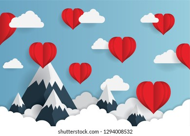 Concept of Valentine's Day, Art paper flying heart balloons. vector illustration. Wallpapers, leaflets, invitations, posters, brochures, banners. EPS 10