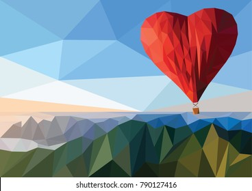 Concept of valentines day. Hot air balloon in a heart shape. Low poly illustration.