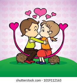 Concept of valentine's day, two enamored love in the spring season. heart background.
