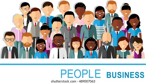 Concept of vector  african american, european business peoples illustration of a international different manager man and woman