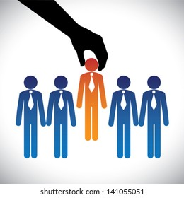Concept vector graphic- hiring ( selecting ) the best job candidate. The graphic shows company making a choice of person with right skills for the job among many candidates competing for the same post