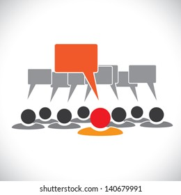 Concept vector graphic- leader & employees talking ( speech bubbles ). This illustration represents people meeting, teamwork, network, employee conversation & interaction, worker discussions, etc