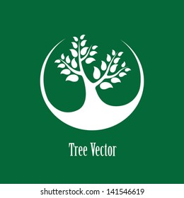 Concept vector graphic- white abstract tree icon ( sign ) green background.