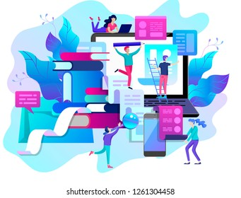 Concept vector illustration of business Blogging, people and education technology. Vector illustration news, copywriting, seminars, tutorial, creative writing, content management for web page, banner