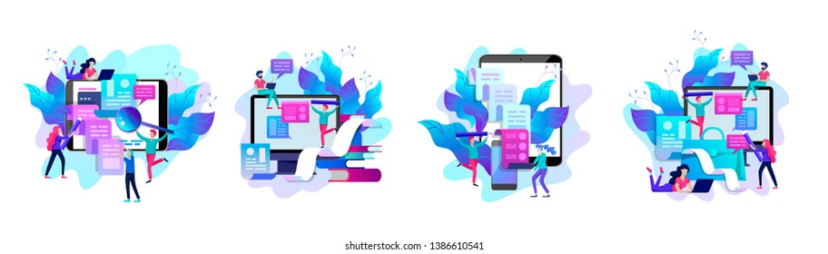 Concept vector illustration of business Blogging, people and education technology. Vector illustration news, copywriting, seminars, tutorial, creative writing. Landing page template