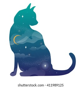 Concept vector illustration with double exposition - silhouette cat and night sky with stars and moon