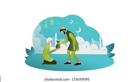 concept vector illustration  of giving zakat to the other muslim. zakat for poor people. flat cartoon design