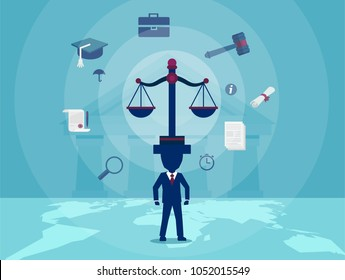 Concept vector illustration of judge with scale taking care of justice judgement.