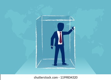 Concept vector illustration of man drawing box around himself creating limits and borders