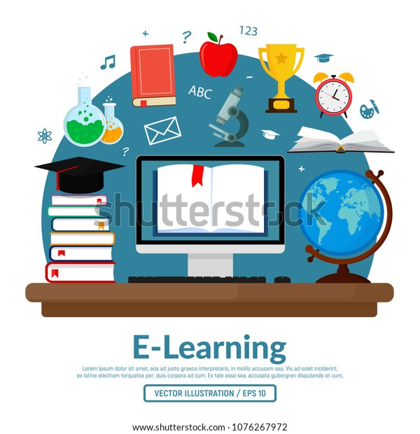 Concept Vector Illustration On Elearning Education Stock Vector Royalty Free 1076267972