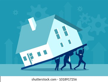 Concept vector illustration of parents and kid carrying burden of house on credit together.