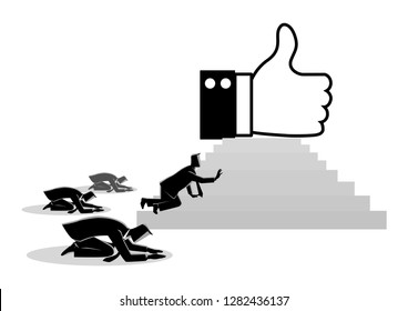 """Concept vector illustration of people worshiping thumb up icon. Social media concept, people obsessed with """"like"""" icon, getting more Likes is a critical part of your social media marketing strategy."""