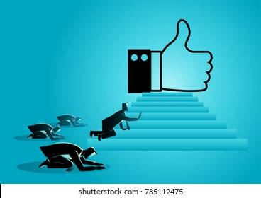 "Concept vector illustration of people worshiping thumb up icon. Social media concept, people obsessed with ""like"" icon, getting more Likes is a critical part of your social media marketing strategy."