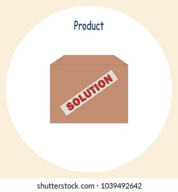 Concept vector illustration of Product. Brown box with Solution stamp. Perfect colorful vector illustration for social media, web, presentations, print materials.