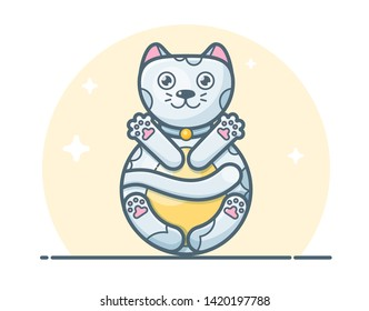 Concept vector illustration of roly-poly cat doll isolated on white background