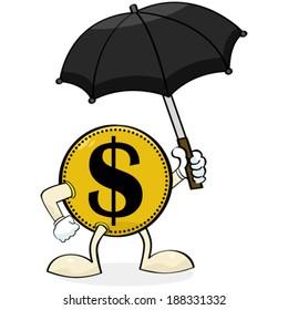 Concept vector illustration showing a coin holding an umbrella