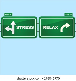 Concept vector illustration showing highway road signs with exist to stress and relax situations
