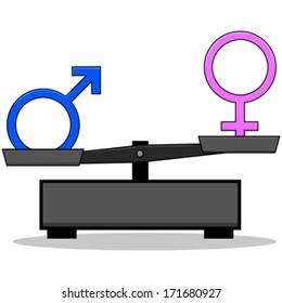 Concept vector illustration showing an old-style scale unbalanced with the male and female signs on opposite ends