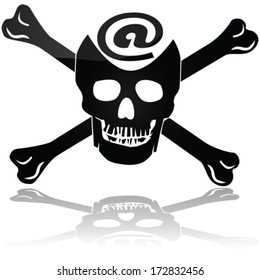 Concept vector illustration showing a pirate skull and bones sign with a symbol to represent Web piracy