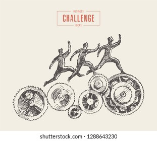 Concept vector illustration, a team running upon gear wheels, business process, organization, structure, system, sketch