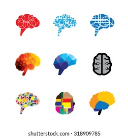 concept vector logo icons of brain and mind. this graphic also represents creativity, brilliance, capacity, capability, prowess, faculty, genius, logic and logical