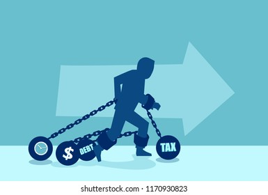 Concept vector of a man in chains of heavy debt financial obligations.