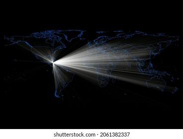 Concept vector map for Bajo Nuevo Bank , vector map of Bajo Nuevo Bank shining with light rays.