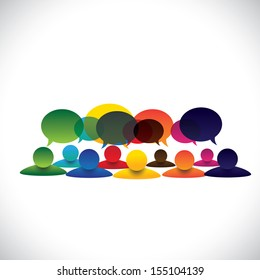 concept vector of people group talking or employee discussions. The graphic also represents social media interaction & engagement, children talking in school, workers opinion, community talk