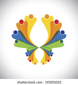 concept vector - people joyful & excited & having fun. This colorful graphic can also represent icons of children jumping, people celebrating, friends bonding, family get-together, kids playing