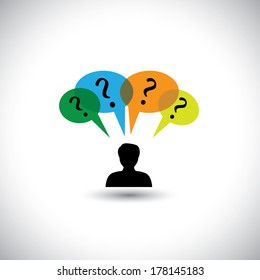 concept vector people thinking - man with speech bubbles & questions. This graphic illustration also represents unanswered questions, doubts, many thoughts, inquiry, etc