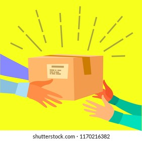 The concept of very fast delivery. Human hands carry the box. Hand to hand. Vector illustration in flat style.