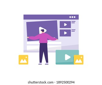 a concept of a video editor, content creator. illustration of a man uploading and editing a video. digital management. flat style. vector design element