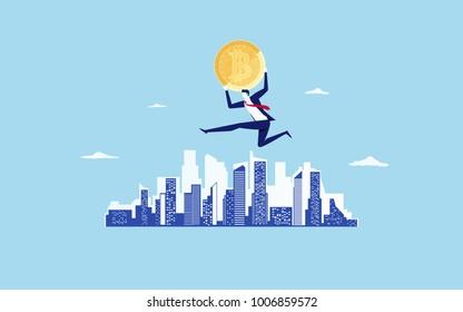 Concept of virtual business digital crypto mining bitcoins. Businessman holds golden bitcoins jump over the city scene. Cartoon Vector Illustration