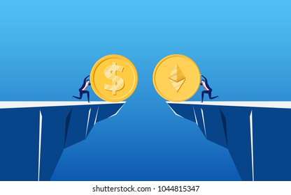 Concept of virtual business digital Ethereum cryptocurrency. Business people holds golden Ethereum to exchange on cliff. Cartoon Vector Illustration