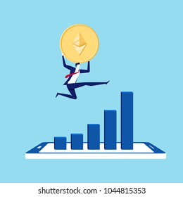 Concept of virtual business digital Ethereum cryptocurrency. Businessman holds golden Ethereum jump over the growth graph on smartphone. Cartoon Vector Illustration