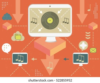 Concept of virtual musical distribution and torrent network, with infographics elements and grunge texture.