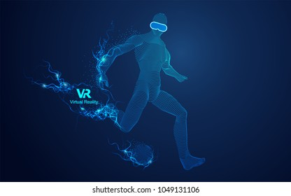 concept of virtual reality technology, graphic of digital man with vr glasses playing soccer football