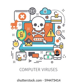 Concept of virus, piracy, hacking and security. Laptop with malicious content and skull on the screen. Flat design, line art vector illustration.