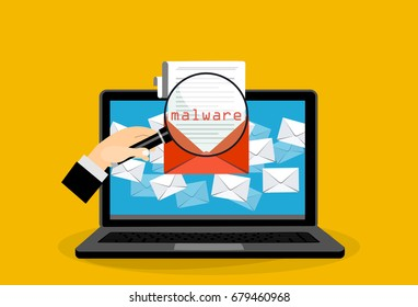 Concept of virus, piracy, hacking and security. Envelope with walware in iaptop. Website banner of e-mail protection, anti-malware software. Flat vector illustration.