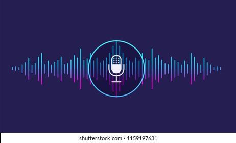 Konzept der Spracherkennung. Schallwelle mit Imitation von Stimme, Klang und Mikrofon.