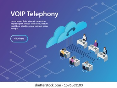 concept VOIP telephony, isometric, example site page