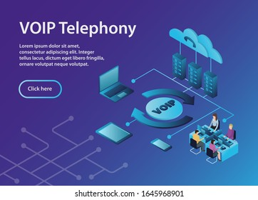 Concept VOIP telephony, isometric, example site page. VOIP Telephony Scheme