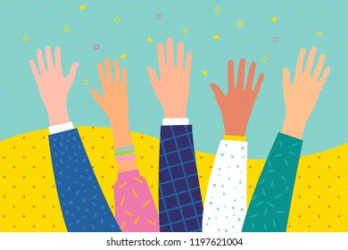 Concept of volunteering or education. Raised hands. Flat design, vector illustration.